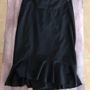 Express Design Studio Pinstriped Skirt with ruffle